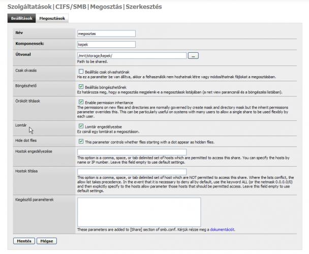 FreeNAS CIFS/SMB beállítások