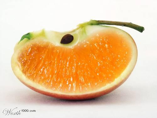 Photoshop gyümölcs: alma-narancs