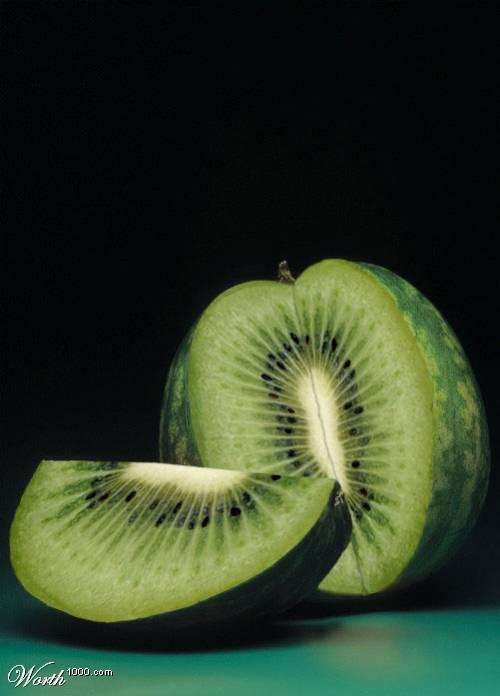 Photoshop gyümölcs: dinnye-kiwi