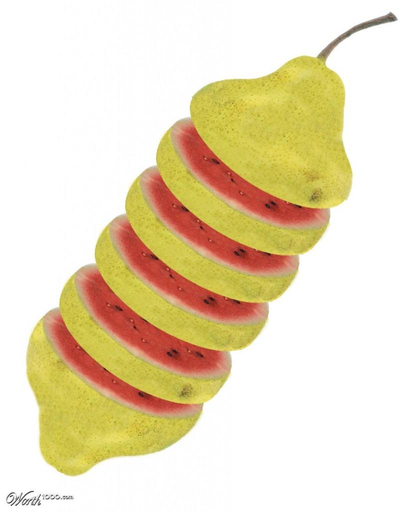 Photoshop gyümölcs: dinnye-körte
