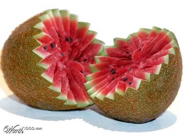 Photoshop gyümölcs: kiwi-dinnye