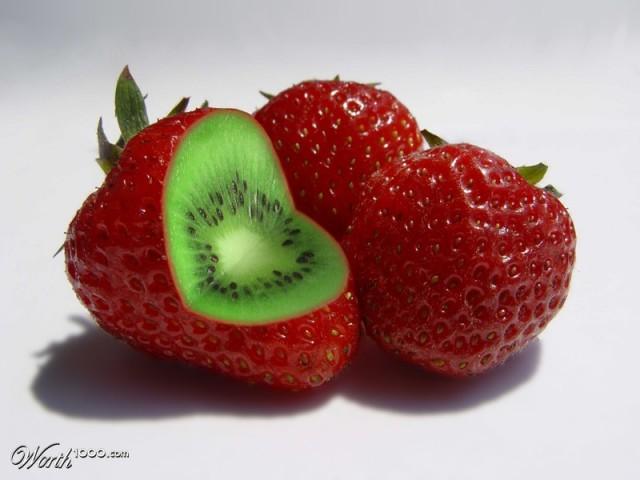 Photoshop gyümölcs: kiwi-eper