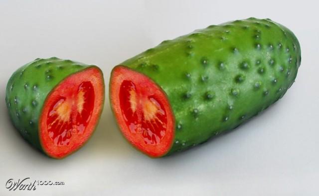 Photoshop gyümölcs: uborka-paradicsom